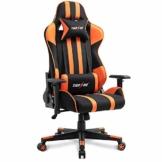 TIANSHU Gaming Stuhl Hochlehner Computerspielstuhl Bürostuhl PP Stoff & PU Leder Rennstuhl PC Ergonomischer Stuhl mit Kopfstütze und verstellbarem Lendenkissen Drehstuhl E-Sports Stuhl, Orange - 1