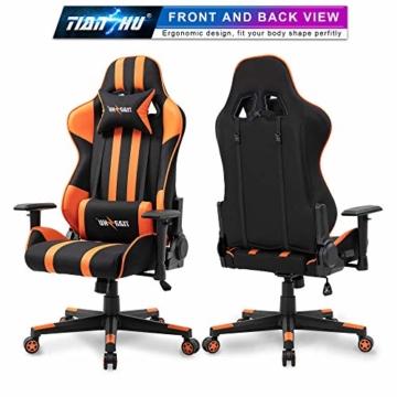 TIANSHU Gaming Stuhl Hochlehner Computerspielstuhl Bürostuhl PP Stoff & PU Leder Rennstuhl PC Ergonomischer Stuhl mit Kopfstütze und verstellbarem Lendenkissen Drehstuhl E-Sports Stuhl, Orange - 3