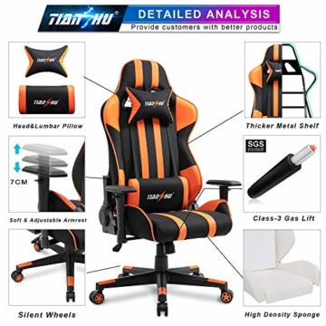 TIANSHU Gaming Stuhl Hochlehner Computerspielstuhl Bürostuhl PP Stoff & PU Leder Rennstuhl PC Ergonomischer Stuhl mit Kopfstütze und verstellbarem Lendenkissen Drehstuhl E-Sports Stuhl, Orange - 4
