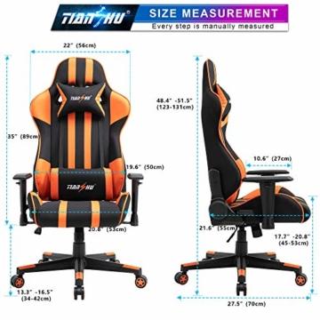 TIANSHU Gaming Stuhl Hochlehner Computerspielstuhl Bürostuhl PP Stoff & PU Leder Rennstuhl PC Ergonomischer Stuhl mit Kopfstütze und verstellbarem Lendenkissen Drehstuhl E-Sports Stuhl, Orange - 7