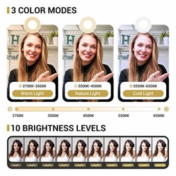 TONOR 12'' Selfie Ringlicht mit Stativständer, Bluetooth Fernauslöser mit Handy Halterung für Zoom Konferenz/TikTok/YouTube/Makeup/Fotograf/Streaming, kompatibel mit iOS/Android (TRL-20) - 2