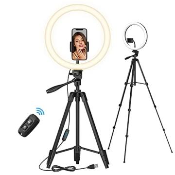 TONOR 12'' Selfie Ringlicht mit Stativständer, Bluetooth Fernauslöser mit Handy Halterung für Zoom Konferenz/TikTok/YouTube/Makeup/Fotograf/Streaming, kompatibel mit iOS/Android (TRL-20) - 1