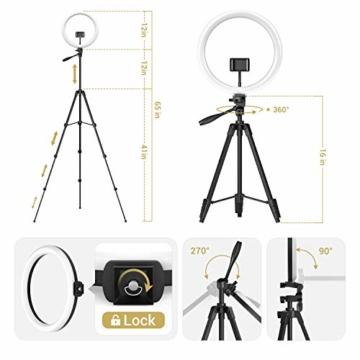 TONOR 12'' Selfie Ringlicht mit Stativständer, Bluetooth Fernauslöser mit Handy Halterung für Zoom Konferenz/TikTok/YouTube/Makeup/Fotograf/Streaming, kompatibel mit iOS/Android (TRL-20) - 5