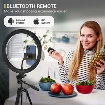 TONOR 12'' Selfie Ringlicht mit Stativständer, Bluetooth Fernauslöser mit Handy Halterung für Zoom Konferenz/TikTok/YouTube/Makeup/Fotograf/Streaming, kompatibel mit iOS/Android (TRL-20) - 6