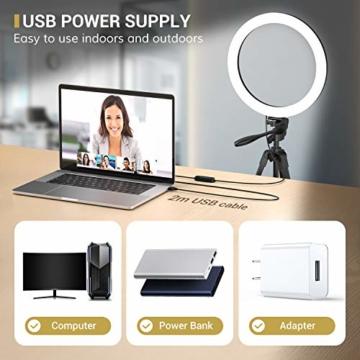 TONOR 12'' Selfie Ringlicht mit Stativständer, Bluetooth Fernauslöser mit Handy Halterung für Zoom Konferenz/TikTok/YouTube/Makeup/Fotograf/Streaming, kompatibel mit iOS/Android (TRL-20) - 7