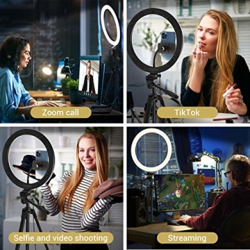 TONOR 12'' Selfie Ringlicht mit Stativständer, Bluetooth Fernauslöser mit Handy Halterung für Zoom Konferenz/TikTok/YouTube/Makeup/Fotograf/Streaming, kompatibel mit iOS/Android (TRL-20) - 9