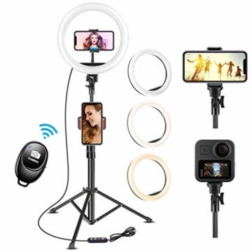 UPhitnis 10 Zoll Selfie Ringlicht mit 63 Zoll Stativ Ringleuchte mit 3 Farbe und 10 Helligkeitsstufen für Make-up,Live-Streaming,YouTube, Tiktok, Vlog und Fotografie - 1