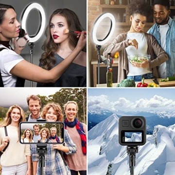UPhitnis 10 Zoll Selfie Ringlicht mit 63 Zoll Stativ Ringleuchte mit 3 Farbe und 10 Helligkeitsstufen für Make-up,Live-Streaming,YouTube, Tiktok, Vlog und Fotografie - 7