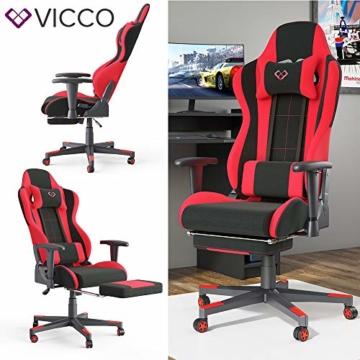 Vicco Gaming Chair Alpha Racing Stuhl Sessel Bürostuhl Chefsessel Drehstuhl Fußstütze (Schwarz/Rot) - 2