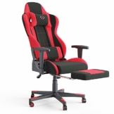 Vicco Gaming Chair Alpha Racing Stuhl Sessel Bürostuhl Chefsessel Drehstuhl Fußstütze (Schwarz/Rot) - 1