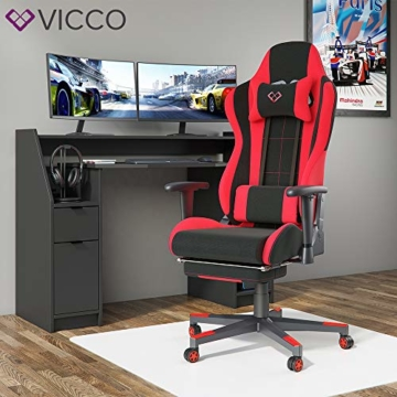 Vicco Gaming Chair Alpha Racing Stuhl Sessel Bürostuhl Chefsessel Drehstuhl Fußstütze (Schwarz/Rot) - 4