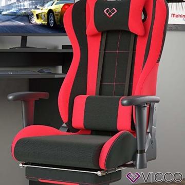 Vicco Gaming Chair Alpha Racing Stuhl Sessel Bürostuhl Chefsessel Drehstuhl Fußstütze (Schwarz/Rot) - 5