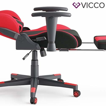 Vicco Gaming Chair Alpha Racing Stuhl Sessel Bürostuhl Chefsessel Drehstuhl Fußstütze (Schwarz/Rot) - 6