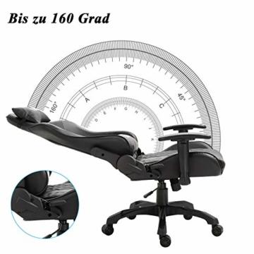 YOLEO Gaming Stuhl, bequemer Gaming Sessel 150 kg Belastbarkeit, Kunstleder PC Stuhl drehbar höhenverstellbar Gaming Chair mit Kopfstütze (Schwarz-Pro) - 2