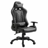 YOLEO Gaming Stuhl, bequemer Gaming Sessel 150 kg Belastbarkeit, Kunstleder PC Stuhl drehbar höhenverstellbar Gaming Chair mit Kopfstütze (Schwarz-Pro) - 1