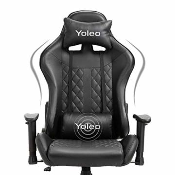 YOLEO Gaming Stuhl, bequemer Gaming Sessel 150 kg Belastbarkeit, Kunstleder PC Stuhl drehbar höhenverstellbar Gaming Chair mit Kopfstütze (Schwarz-Pro) - 3
