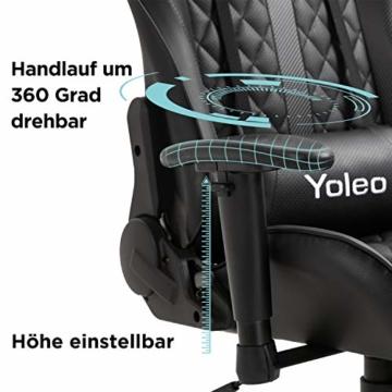 YOLEO Gaming Stuhl, bequemer Gaming Sessel 150 kg Belastbarkeit, Kunstleder PC Stuhl drehbar höhenverstellbar Gaming Chair mit Kopfstütze (Schwarz-Pro) - 4