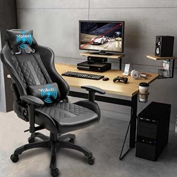 YOLEO Gaming Stuhl, bequemer Gaming Sessel 150 kg Belastbarkeit, Kunstleder PC Stuhl drehbar höhenverstellbar Gaming Chair mit Kopfstütze (Schwarz-Pro) - 5