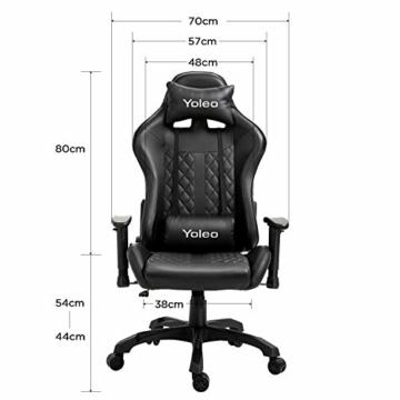 YOLEO Gaming Stuhl, bequemer Gaming Sessel 150 kg Belastbarkeit, Kunstleder PC Stuhl drehbar höhenverstellbar Gaming Chair mit Kopfstütze (Schwarz-Pro) - 8