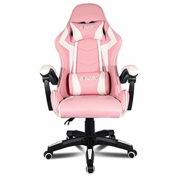 bigzzia, Gaming-Stuhl, Bürostuhl, Schreibtischstuhl, Drehstuhl, Schwerlaststuhl, ergonomisches Design mit Kissen und verstellbarer Rückenlehne - 2