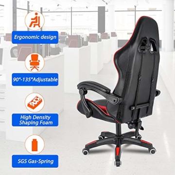 bigzzia, Gaming-Stuhl, Bürostuhl, Schreibtischstuhl, Drehstuhl, Schwerlaststuhl, ergonomisches Design mit Kissen und verstellbarer Rückenlehne - 3