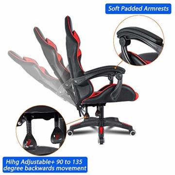 bigzzia, Gaming-Stuhl, Bürostuhl, Schreibtischstuhl, Drehstuhl, Schwerlaststuhl, ergonomisches Design mit Kissen und verstellbarer Rückenlehne - 4