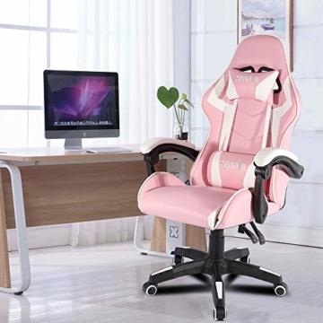 bigzzia, Gaming-Stuhl, Bürostuhl, Schreibtischstuhl, Drehstuhl, Schwerlaststuhl, ergonomisches Design mit Kissen und verstellbarer Rückenlehne - 5