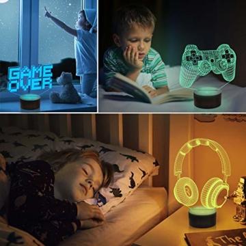 CooPark Pixel Spiel über Illusions lampe, Gamepad 3D Nachtlicht (3 Muster) mit Fernbedienung 16 Farbwechsel Spielzimmer Dekor Beste Weihnachtsgeburtstagsgeschenke für Kinder Jungen Kind - 3