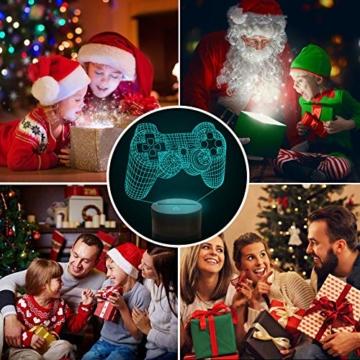 CooPark Pixel Spiel über Illusions lampe, Gamepad 3D Nachtlicht (3 Muster) mit Fernbedienung 16 Farbwechsel Spielzimmer Dekor Beste Weihnachtsgeburtstagsgeschenke für Kinder Jungen Kind - 4