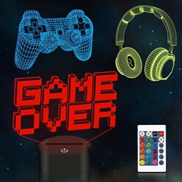 CooPark Pixel Spiel über Illusions lampe, Gamepad 3D Nachtlicht (3 Muster) mit Fernbedienung 16 Farbwechsel Spielzimmer Dekor Beste Weihnachtsgeburtstagsgeschenke für Kinder Jungen Kind - 1