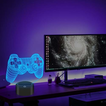 CooPark Pixel Spiel über Illusions lampe, Gamepad 3D Nachtlicht (3 Muster) mit Fernbedienung 16 Farbwechsel Spielzimmer Dekor Beste Weihnachtsgeburtstagsgeschenke für Kinder Jungen Kind - 9