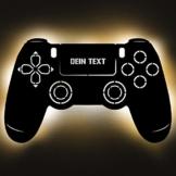 Gaming Controller 4 Lampe aus Holz - personalisierbares Geschenk für Männer - Gaming Zimmer Deko - Gamingpad Lampe - personalisierbar zum Hinstellen/Aufhängen - Gaming Geschenk - persönliches Geschenk - 1