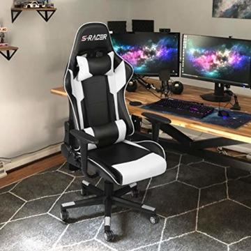 Homall Gaming-Stuhl Bürostuhl Schreibtischstuhl Drehstuhl Racing Computer Stuhl PC Gamer Stuhl Ergonomisches Design Heavy Duty Stuhl Hohe Rückenlehne Lehnstuhl mit Kissen und Rückenstütze (weiß) - 2