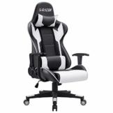 Homall Gaming-Stuhl Bürostuhl Schreibtischstuhl Drehstuhl Racing Computer Stuhl PC Gamer Stuhl Ergonomisches Design Heavy Duty Stuhl Hohe Rückenlehne Lehnstuhl mit Kissen und Rückenstütze (weiß) - 1