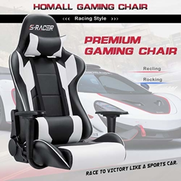 Homall Gaming-Stuhl Bürostuhl Schreibtischstuhl Drehstuhl Racing Computer Stuhl PC Gamer Stuhl Ergonomisches Design Heavy Duty Stuhl Hohe Rückenlehne Lehnstuhl mit Kissen und Rückenstütze (weiß) - 3