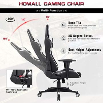 Homall Gaming-Stuhl Bürostuhl Schreibtischstuhl Drehstuhl Racing Computer Stuhl PC Gamer Stuhl Ergonomisches Design Heavy Duty Stuhl Hohe Rückenlehne Lehnstuhl mit Kissen und Rückenstütze (weiß) - 5