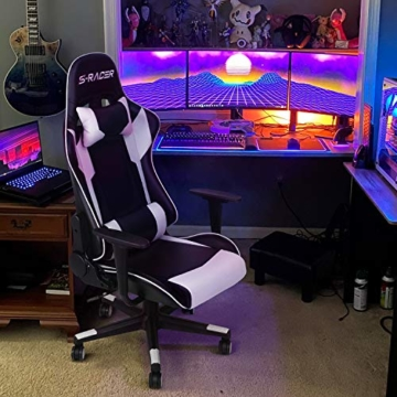 Homall Gaming-Stuhl Bürostuhl Schreibtischstuhl Drehstuhl Racing Computer Stuhl PC Gamer Stuhl Ergonomisches Design Heavy Duty Stuhl Hohe Rückenlehne Lehnstuhl mit Kissen und Rückenstütze (weiß) - 6