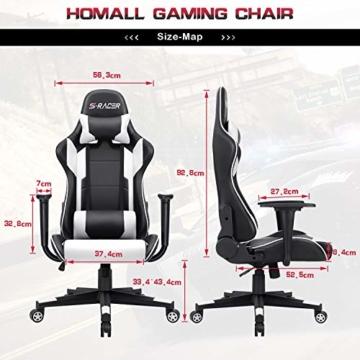 Homall Gaming-Stuhl Bürostuhl Schreibtischstuhl Drehstuhl Racing Computer Stuhl PC Gamer Stuhl Ergonomisches Design Heavy Duty Stuhl Hohe Rückenlehne Lehnstuhl mit Kissen und Rückenstütze (weiß) - 7