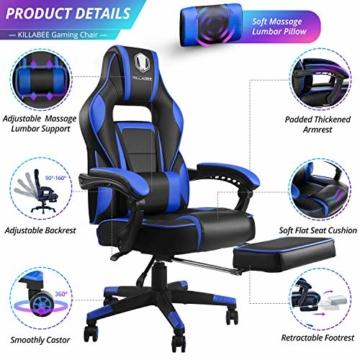 KILLABEE Massagesessel, Gaming-Stuhl, hohe Rückenlehne, PU-Leder, PC, Rennen, Computer, Schreibtisch, Büro, Drehgelenk, mit einziehbarer Fußstütze und verstellbarer Lendenwirbelstütze (grau) - 2