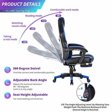KILLABEE Massagesessel, Gaming-Stuhl, hohe Rückenlehne, PU-Leder, PC, Rennen, Computer, Schreibtisch, Büro, Drehgelenk, mit einziehbarer Fußstütze und verstellbarer Lendenwirbelstütze (grau) - 3