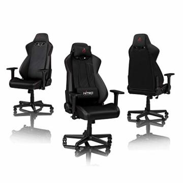 NITRO CONCEPTS S300 EX Gamingstuhl - Ergonomischer Bürostuhl Schreibtischstuhl Chefsessel Bürostuhl Pc Stuhl Gaming Sessel PU Kunstleder Belastbarkeit 135 Kilogramm - Carbon Black (Schwarz) - 2