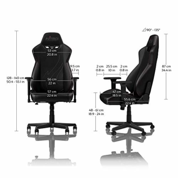 NITRO CONCEPTS S300 EX Gamingstuhl - Ergonomischer Bürostuhl Schreibtischstuhl Chefsessel Bürostuhl Pc Stuhl Gaming Sessel PU Kunstleder Belastbarkeit 135 Kilogramm - Carbon Black (Schwarz) - 3