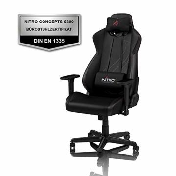 NITRO CONCEPTS S300 EX Gamingstuhl - Ergonomischer Bürostuhl Schreibtischstuhl Chefsessel Bürostuhl Pc Stuhl Gaming Sessel PU Kunstleder Belastbarkeit 135 Kilogramm - Carbon Black (Schwarz) - 4
