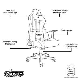 NITRO CONCEPTS S300 EX Gamingstuhl - Ergonomischer Bürostuhl Schreibtischstuhl Chefsessel Bürostuhl Pc Stuhl Gaming Sessel PU Kunstleder Belastbarkeit 135 Kilogramm - Carbon Black (Schwarz) - 7