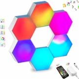 Sechseck LED Leuchten Sync mit Musik, Smart LED Wandleuchten mit RF-Fernbedienung Eingebautes Mikrofon Modulare Licht Platten DIY Geometrie Spleißen Quantum Nachtlicht für Zuhause Bar Dekor, 6 Stück - 1