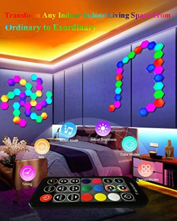 Sechseck LED Leuchten Sync mit Musik, Smart LED Wandleuchten mit RF-Fernbedienung Eingebautes Mikrofon Modulare Licht Platten DIY Geometrie Spleißen Quantum Nachtlicht für Zuhause Bar Dekor, 6 Stück - 6