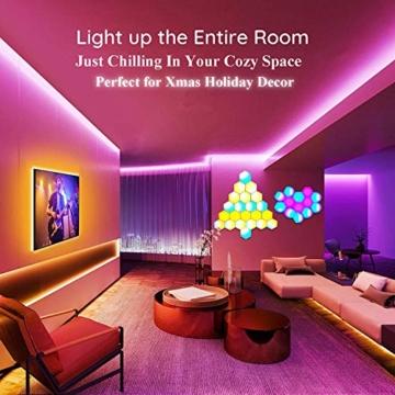 Sechseck LED Leuchten Sync mit Musik, Smart LED Wandleuchten mit RF-Fernbedienung Eingebautes Mikrofon Modulare Licht Platten DIY Geometrie Spleißen Quantum Nachtlicht für Zuhause Bar Dekor, 6 Stück - 7