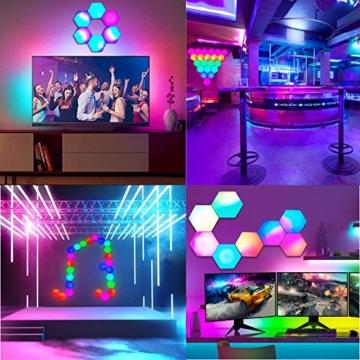 Sechseck LED Leuchten Sync mit Musik, Smart LED Wandleuchten mit RF-Fernbedienung Eingebautes Mikrofon Modulare Licht Platten DIY Geometrie Spleißen Quantum Nachtlicht für Zuhause Bar Dekor, 6 Stück - 8