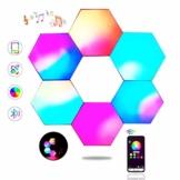 Sechseck Wandleuchte, Smart LED Licht Wandpanel APP Steuerung Musik Sync,16 Millionen Farben Modulares Licht RGB Nachtlicht DIY Geometrie Spleißen Quantum Leuchte für Zuhause Bar Wand Dekor, 6 Stück - 1