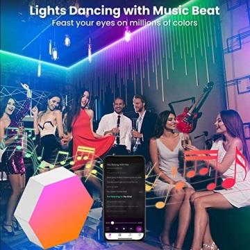 Sechseck Wandleuchte, Smart LED Licht Wandpanel APP Steuerung Musik Sync,16 Millionen Farben Modulares Licht RGB Nachtlicht DIY Geometrie Spleißen Quantum Leuchte für Zuhause Bar Wand Dekor, 6 Stück - 3